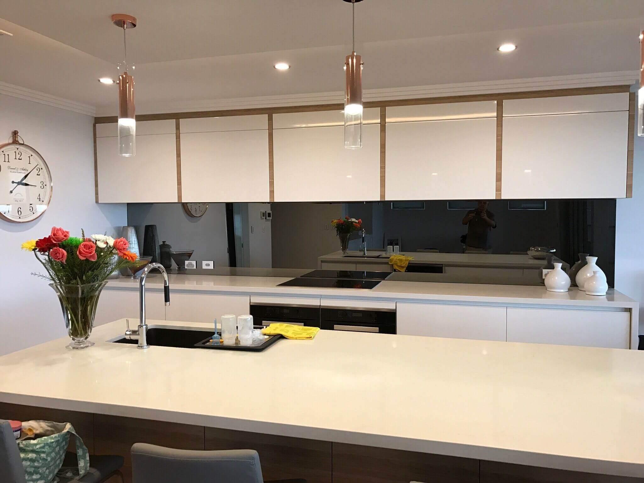 Toughened mirrored kitchen Spalshbacks