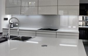 Pewter Illusion metallic colour glass splashback