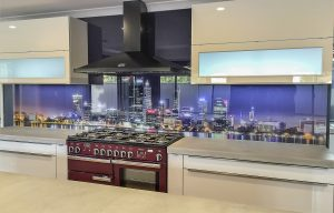 print on glass splashbacks of Perth Skyline