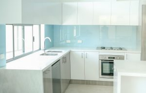 Billabong Blue Coloured kitchen glass Splashbacks