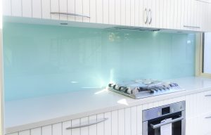 glass splashbacks in Aqua coloured painted