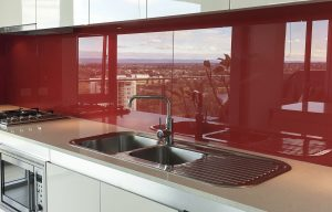 Kitchen glass splashbacks in Red colour
