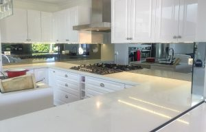 Kitchen glass splashbacks in toughened safety glass