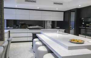 Mirrored kitchen glass splashbacks in toughened safety glass