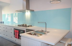 Skybed Blue Coloured kitchen glass Splashback
