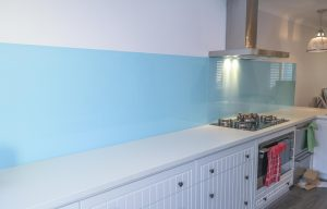 glass splashbacks in light blue colour